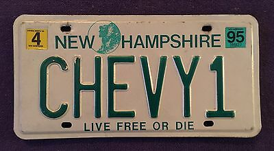 1995 NEW HAMPSHIRE VANITY License Plate Tag  95 NH CHEVY1 Chevrolet USA-1 RARE!!