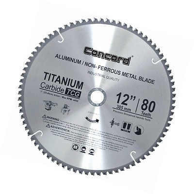 Non-Ferrous Metal Saw Blade Aluminum Cutting Triple Chip Grind 12-Inch 80 Teeth