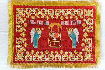 Chalice Covers Veil Orthodox  Embroidered  red color , gold thread, with icon