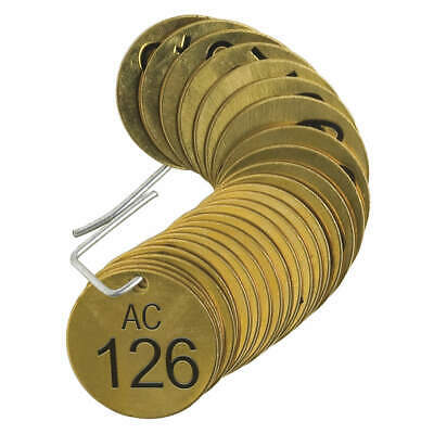 BRADY Number Tag,Brass,Series AC 126-150,PK25, 23481, Brass