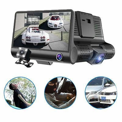 2017 Dual Lens 4'' HD 1080P DVR Vehicle Car Dash Cam Rear Video Camera Recorder