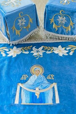 Chalice Covers  Orthodox  Embroidered Blue color , with Icon Of Mother Of God,