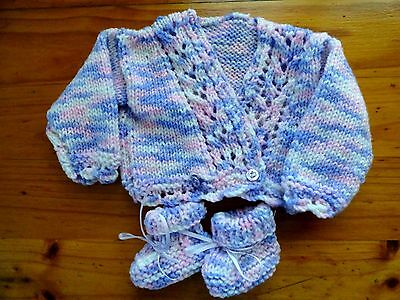 Baby Born Dolls Hand Knitted Cardigan & Booties In Mauve Pink & White
