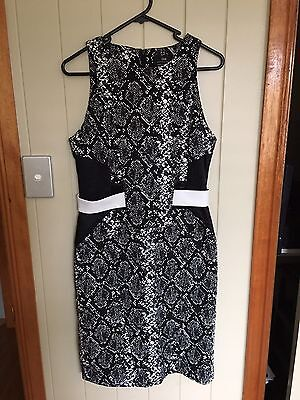 Cue black & white snakeskin dress with cutouts, size 10