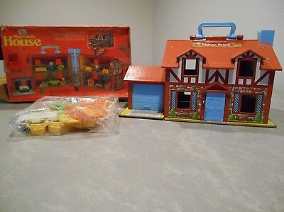 Unused Complete Fisher Price Play Family House,People, Furniture, Car, Door Bell