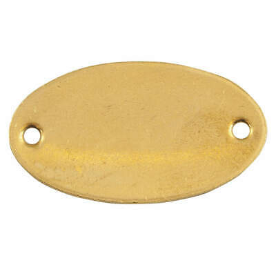 CH HANSON Brass Blk Tag,1 x 1-7/8 In,Brs,Oval,PK25, 42742, Brass