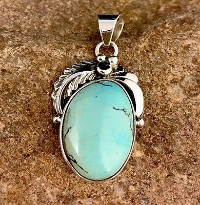 Exquisite Native American Sterling Silver Dry Creek Turquoise Pendant Signed