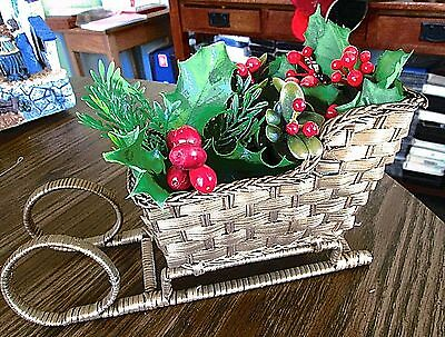 """Wicker Woven Decorative Christmas Sleigh 9"""" Long Gold Filled With Holly"""