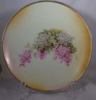 """Hand Painted German Plate Lilacs Pink & White Signed Herschal 7.5"""" Pretty"""