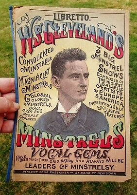 1890 Antique WS CLEVELAND'S MINSTREL SHOWS Colossal Colored BLACK AMERICANA Song
