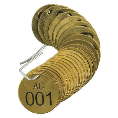 BRADY Number Tag,Brass,Series AC 001-025,PK25, 23272, Brass