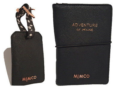 Mimco classico black with rose gold passport holder plus luggage tag**