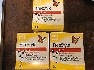 150 *FREESTYLE LITE* TEST STRIPS (3x50ct) Long EXP FAST SHIP
