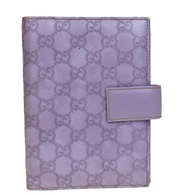 Auth GUCCI GG Pattern Agenda Cover Day Planner Leather Purple Italy 02V1253