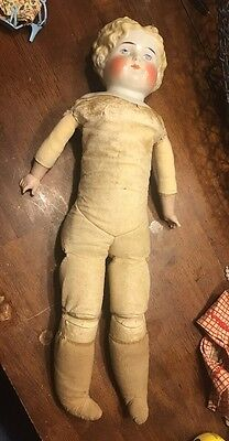 """Antique German c.1800's Low Brow China Head Doll Leather  Body 19"""""""
