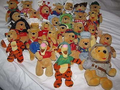"27 Disney Store Winnie the Pooh Tigger costume beanbag plush Most 8"" tag Lot"