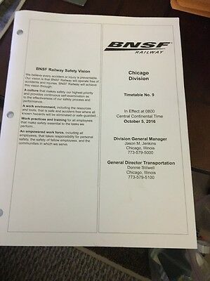 BNSF Chicago Division Timetable #9 October 5, 2016