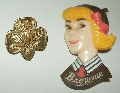 Vintage plastic BROWNIE pin with Free goldtone metal Girl Scout pin