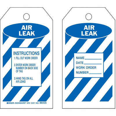 BRADY Polyester Air Leak Tag,5-3/4 x 3 In,Bl/Wht,PK10, 86435