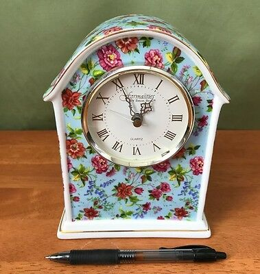 Chintz China Clock with Gold Trims, Very Bright and Colorful, Perfect Condition!