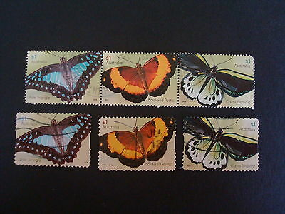 2016 - Butterflies - Used Sets of 3 x $1 stamps - Sheet Strip & S/A
