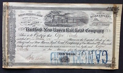 Rare Hartford & New Haven Railroad Stock Certificate 1872 Issued to Ezra Brooks