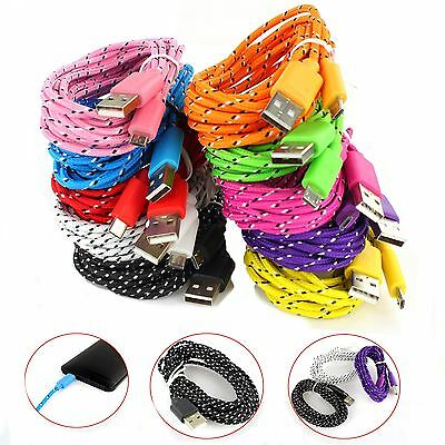 1M 3ft Braided Fabric Micro USB Data&Sync Charger Cable Cord For Samsung gbm