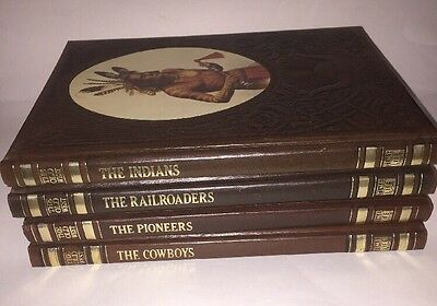Lot Of 4 The Old West Time Life Books- Indians, Cowboys, Pioneers, Railroaders
