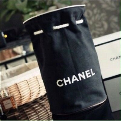 Chanel Vip Gift Rare Black Canvas Makeup Cosmetic Travel Draw String Bag New