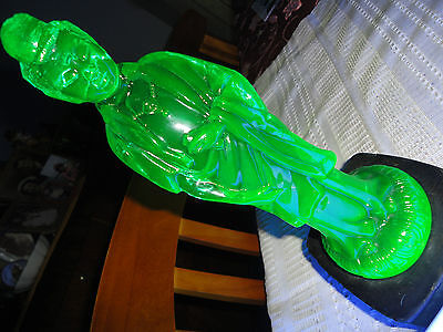 Antique Ultra Rare Uranium Glass Samurai Figurine with a Screw Peg on a Stand