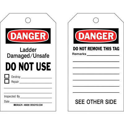 BRADY Cardstock Danger Tag,7 x 4 In,Bk and R/Wht,PK100, 86699
