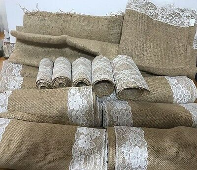 Large Lot of Burlap Table Runners for Rustic Wedding Save Big LOOK K/DK-4