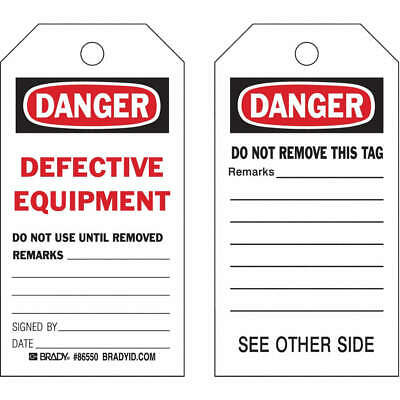 BRADY Polyester Danger Tag,5-3/4 x 3 In,Def Eapt,PK10, 86550
