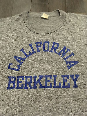 Vintage 70's CALIFORNIA BERKELEY Heather Grey BUTTERY SOFT T SHIRT Cal UC CALI L