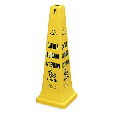 RUBBERMAID COMMERCI Plastic Safety Cone, Caution, Eng/Sp/Fr, FG627600YEL, Yellow