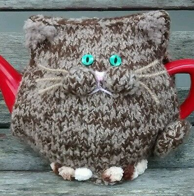 Hand-knitted Tabitha the tabby cat tea cosy. Will fit med/large teapot