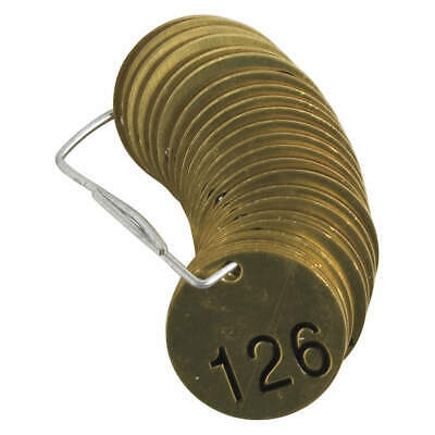 "BRADY Brass Numbered Tag Set,1-1/2""H,1-1/2""W,PK25, 23205, Brass"