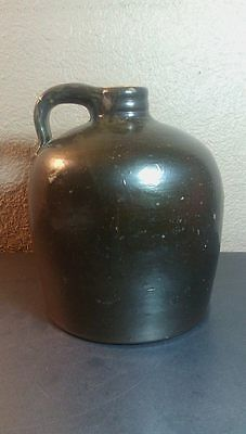 Antique Stoneware Brownware Redware Crock Jug whiskey with cork stopper 1800's
