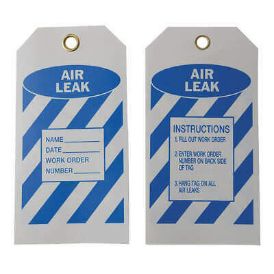 BRADY Polyester Air Leak Tag,5-3/4 x 3 In,Bl/Wht,PK10, 86562