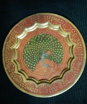 Vtg. Hand Carved & Painted Brass Dancing PECOCK Wall Hanging Decorative Plate