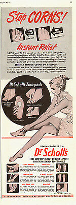 1947 vintage AD  DR. SCHOLL's Stop Corns! Zino-Pads Pinup style Art   -120514