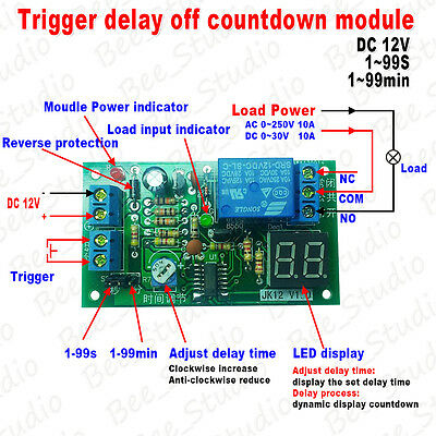 DC 12V Digital LED Display Trigger Countdown Delay Turn OFF Timer Relay Module