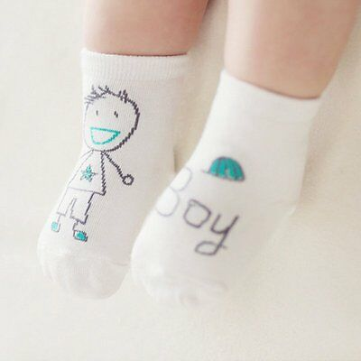White Boys Socks Kid Baby Cotton Ankle Socks Toddler Infant Anti-slip Socks 0-1Y