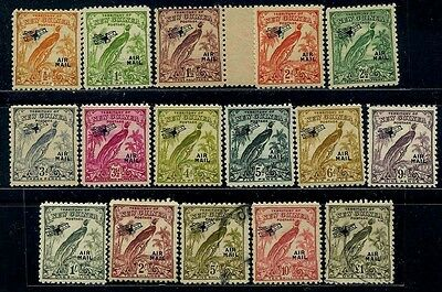 NEW GUINEA Sc C-28~43 (16) CplSet to 1pd. 1932 Air Mail Ovprt. VLH CV$300 h