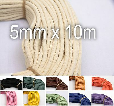 Cotton Macrame Cord 5mm 10m (11yds) - 100% Natural Braided Rope for Hammock etc.