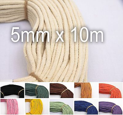 Cotton Macrame Cord 6mm 10m (11yds) - 100% Natural Braided Rope for Hammock etc.