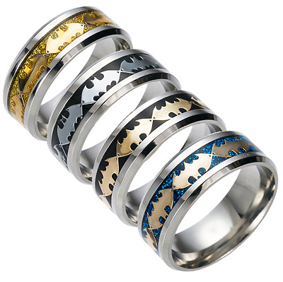 8mm Stainless Steel Batman Ring Unisex's Band Silver Black Blue Gold Size 6-13
