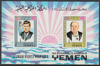 Yemen Kgr 1968 ** Bl.119 B Churchill Kennedy JFK Menschenrechte Human Rights