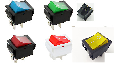 5 COLOUR Rocker Switch 16A 240V, 20A 125V  ON-OFF Double Pole 4 Pin  ILLUMINATED