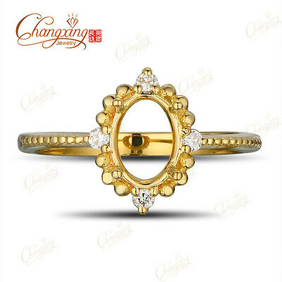 5x7mm Oval 14kt Yellow Gold Natural Full Cut Diamond Engagement Semi Mount Ring
